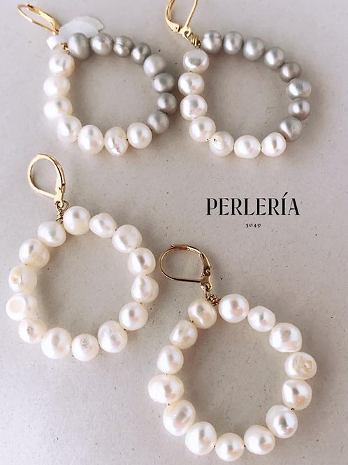 Aretes aro de perlas cultivadas