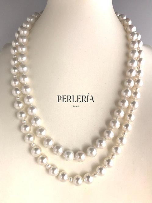 Collar doble de perla tipo concha incluye aretes