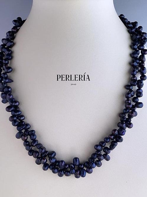 Collar doble azul incluye aretes