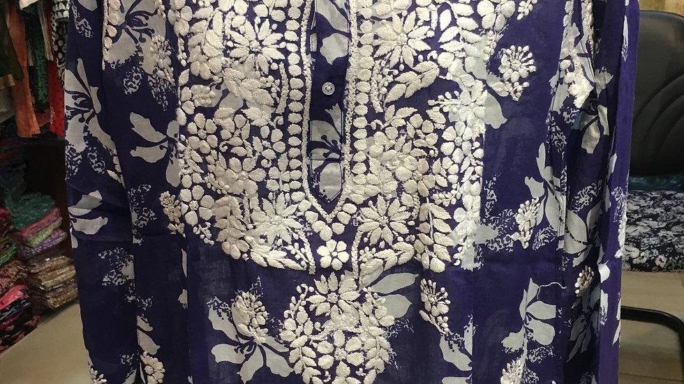 Hibiscus printed blue kurti