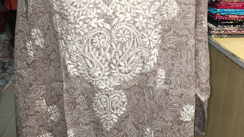 Pastel Brown paisely printed kurti