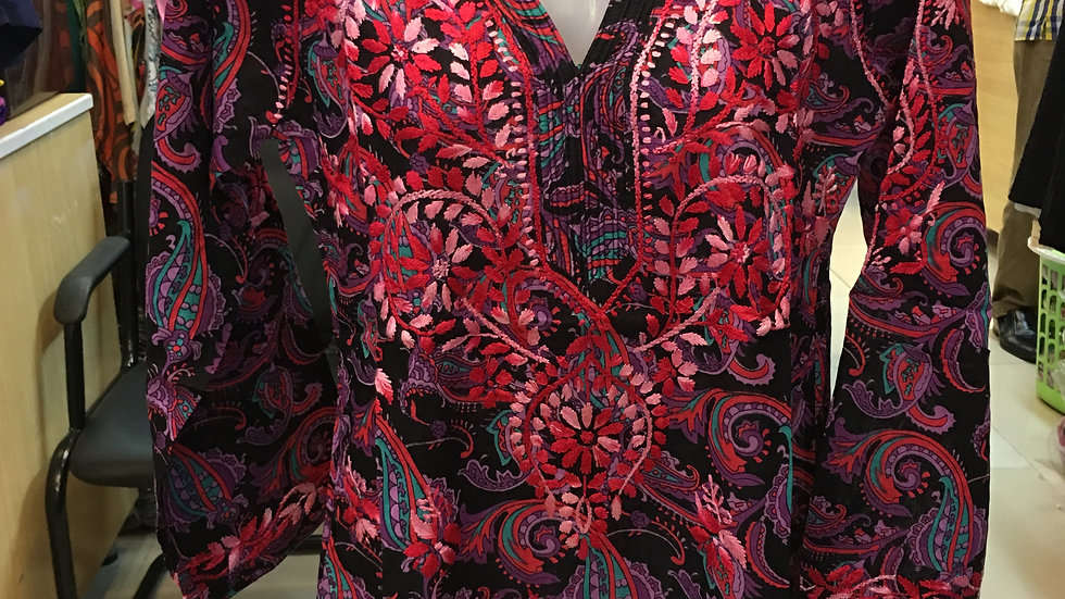 Roll over neck paisely printed kurti