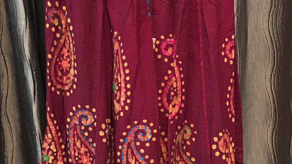 Maroon Batik long skirt