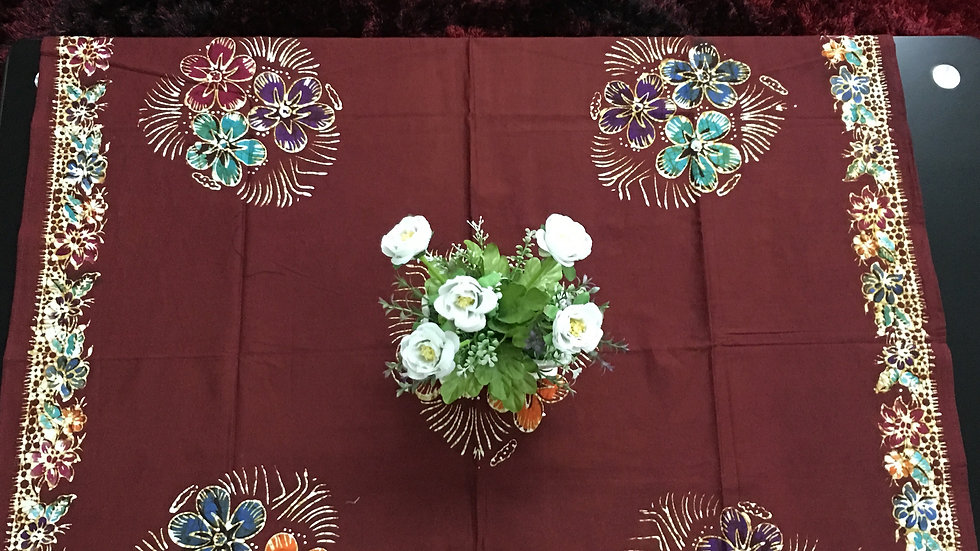 "Maroon Batik Tablecloth 45""x 45"""