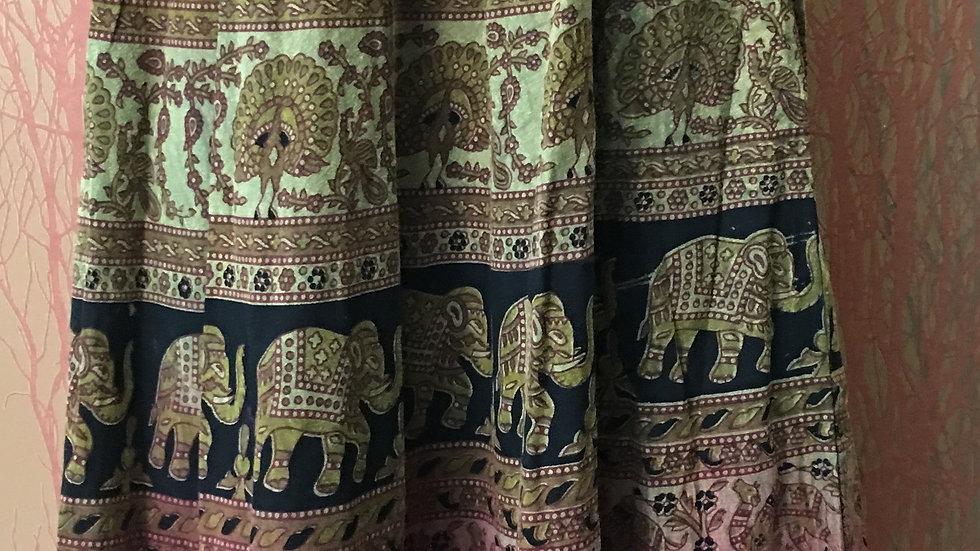 Long elephant cotton skirt