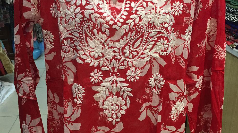 Red Hibiscus Kurti