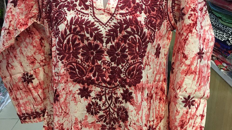 Batik design kurti- Red