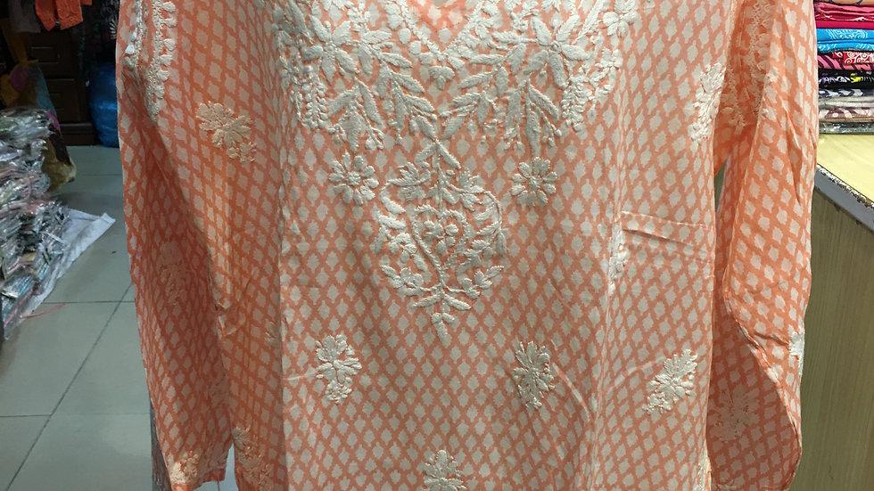 Peach leaf design kurti