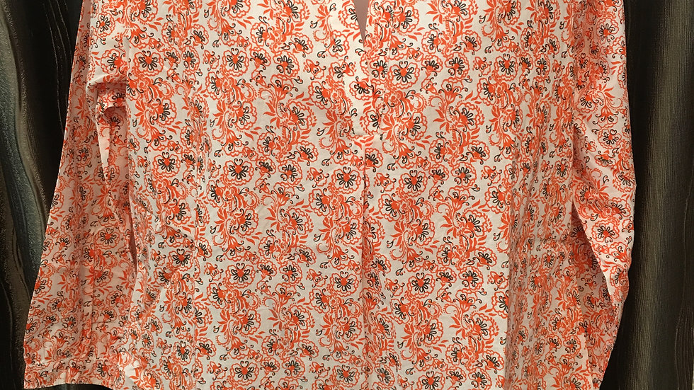 Ethnic printed orange blouse