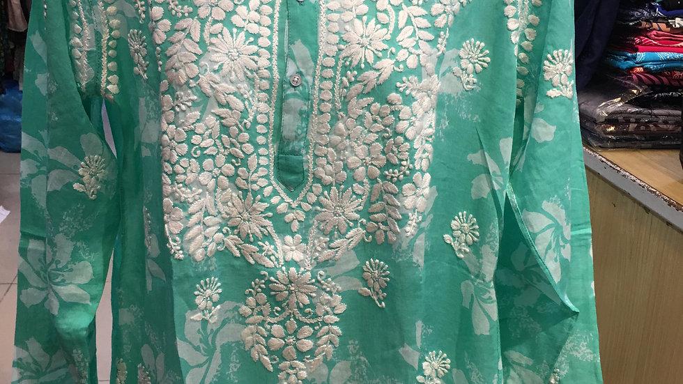 Pastel Aqua Green floral print kurti