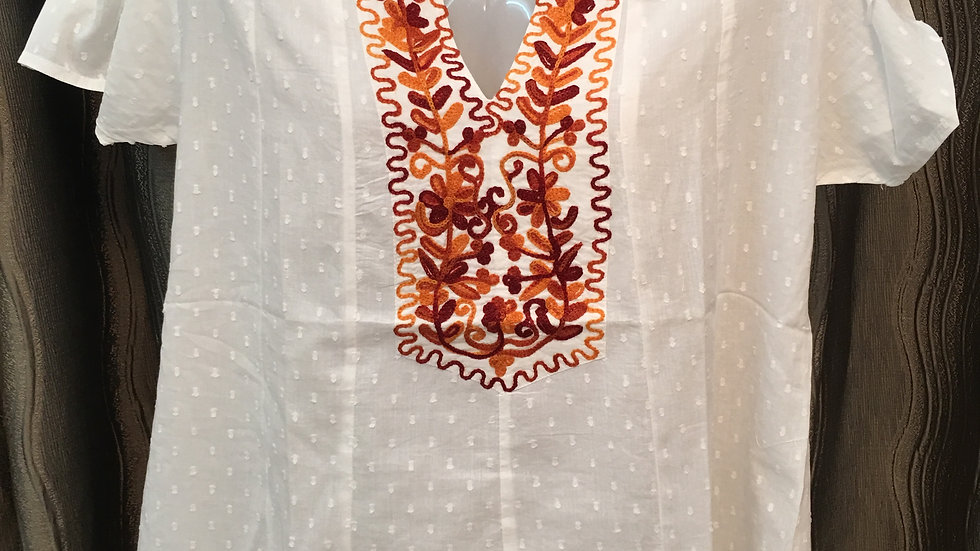 White with rust embroidery short sleeves blouse