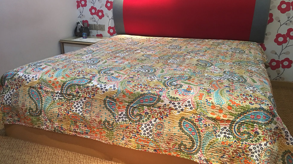 Beige Paisely Kantha Bedspread