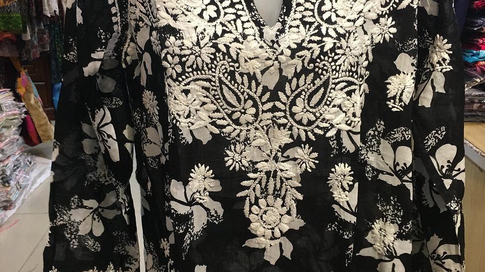 Black and White Hisbiscus print kurti