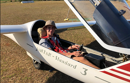 Young solo glider pilot