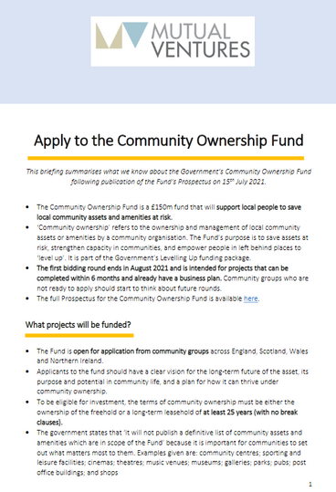 Briefing on the Government's £150m Community Ownership Fund