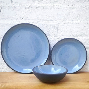 Dinner, Side, Bowl Blue Speckled Plates