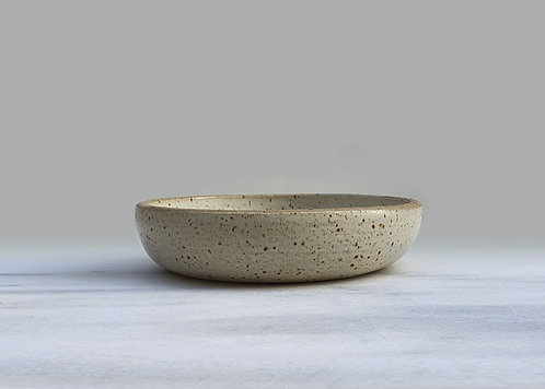 White Speckled Shallow Bowl 18cm