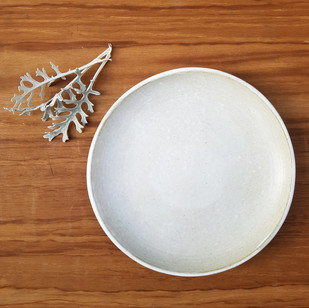 White Matte Small Dinner Plate with Glazed Rim