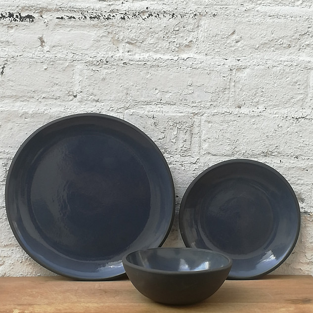 Dark Blue Plates & Bowl