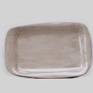 Ceramic Ivory Linen Platter