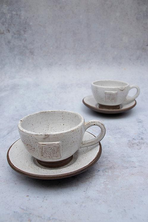 Set of 2 Tea Cups & Saucers