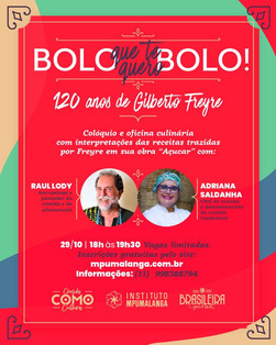 Antropólogo Raul Lody e Chef Adriana Saldanha, em live sobre a obra Açúcar, de Gilberto Freyre
