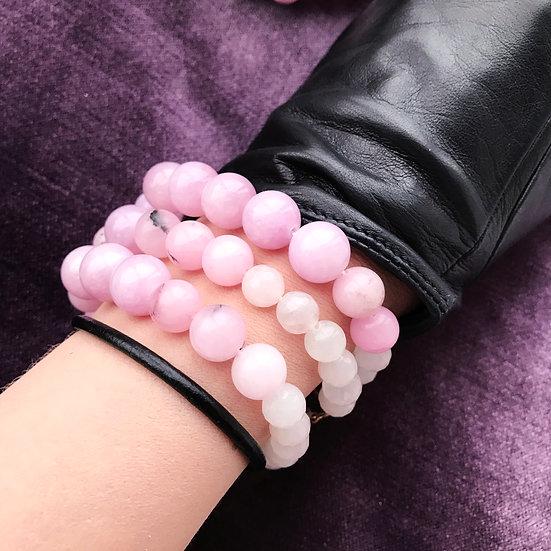 Lilac Sakura Strong Set: Quarts Bracelets + Thin leather bracelet