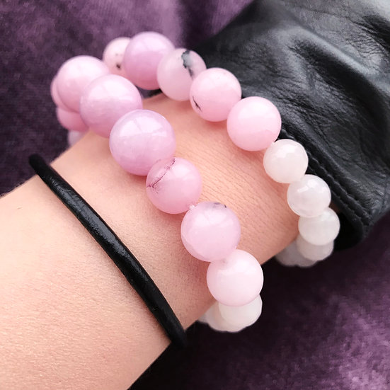 Lilac Sakura Double Set: Bracelet + Black Line bracelet