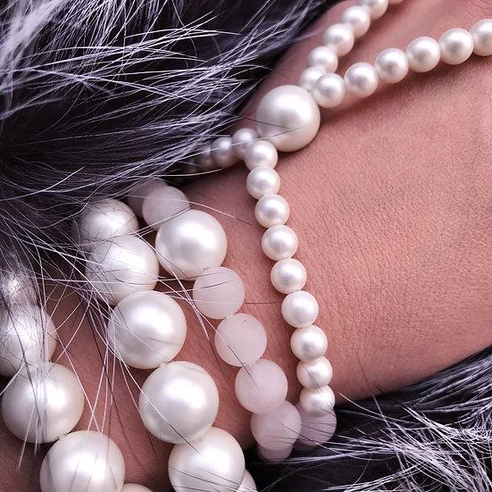 Frosted Sakura Set: Quarts Bracelets + slave-bracelet