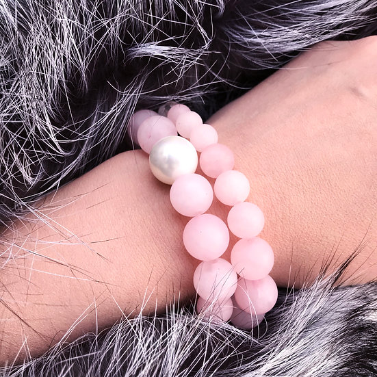 Ice Cold Shampagne Set: Quarts Bracelet with Natural Pearl