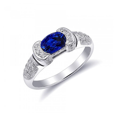 18k White Gold 1.30ct TGW Blue Sapphire and White Diamond Ring