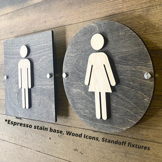 Bathroom Sign With Standoffs Espresso Stain