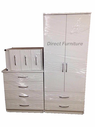 Venice Wardrobe & Drawers Package - White