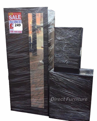 Venice Wardrobe & Drawers Package - Black