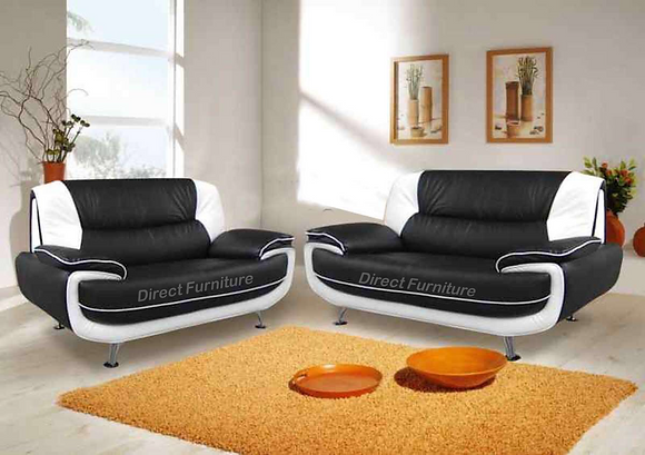 Palermo 3+2 Sofa In Black/White