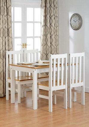 Ludlow 1+4 Dining Set In Oak/White