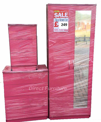 Venice Wardrobe & Drawers Package - Pink