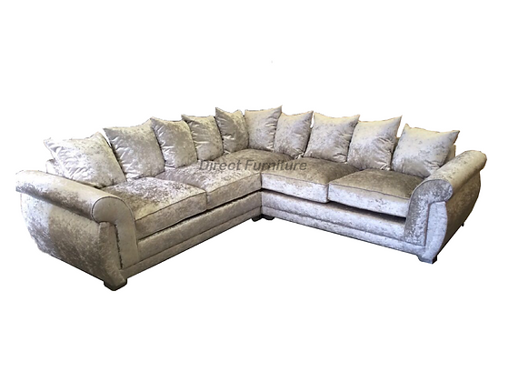 Shannon 2c2 Sofa in Silver Crushed Velvet