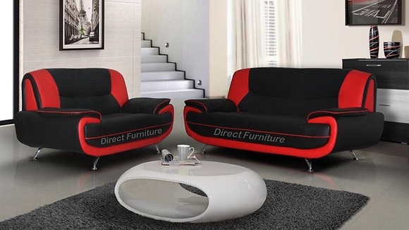 Palermo 3+2 Sofa In Black/Red