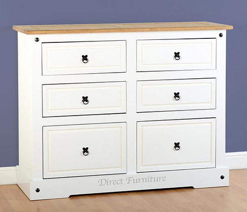 Corona 6 Drawer Chest In White