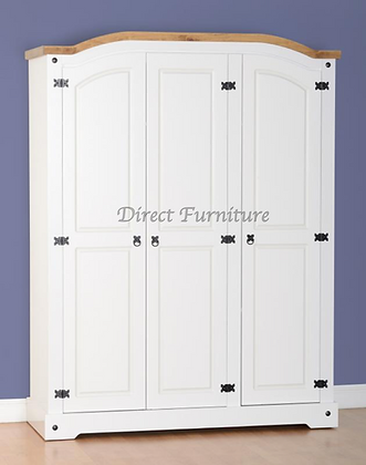 Corona 3 Door Wardrobe In White