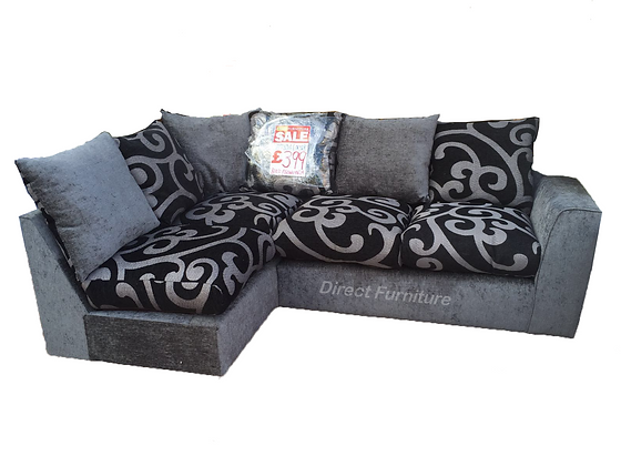 Samantha Corner Sofa In Black and Grey