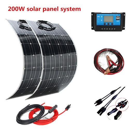 200W Solar Panel+ 20A Controller for RV Boat Car Camping  +Solar Battery Charger