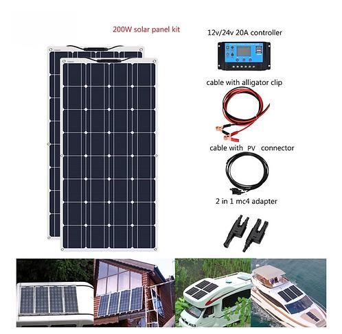 200W DIY Kit PV RV Car Boat Home Use 12V /24v  Battery Caravan Camper Roofs