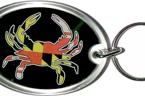 66095 - Lucite Key Ring MD Flag Crab Oval