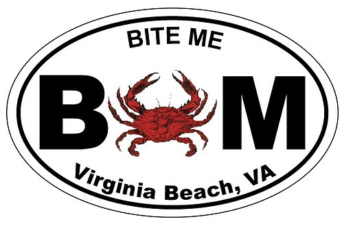 30162 - Oval Sticker VB Bite Me Crab
