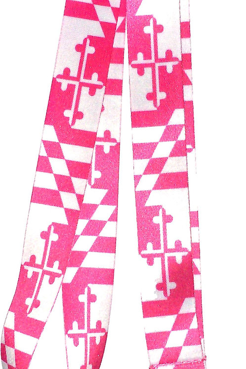 66218 - Neck Lanyard Pink & White MD Flag
