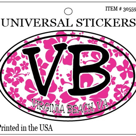30559 - Hanging Oval Sticker VB Pink Hibiscus