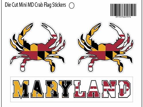 66022 - Die Cut Triple Sticker MD Flag Mini Crabs