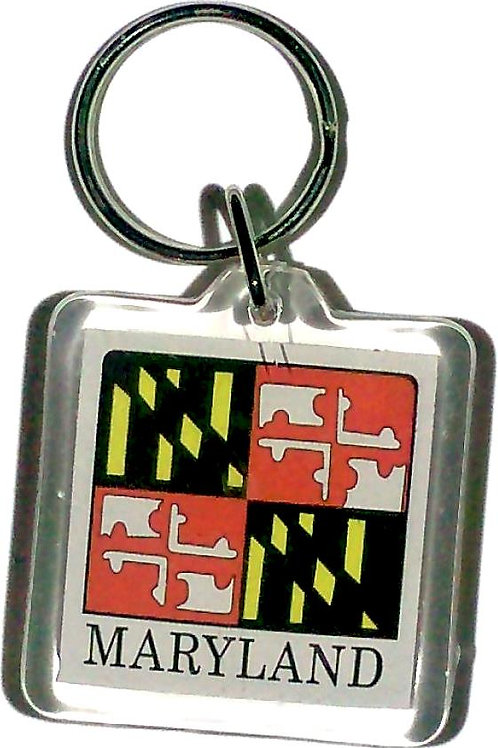 66796 - Lucite Key Ring Maryland Flag